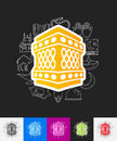 Lantern paper sticker with hand drawn elements