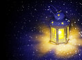Lantern in a snowstorm the evening Royalty Free Stock Images