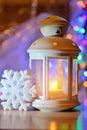 Lantern On A Snowy Background....