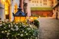 Lantern on table of street cafe Royalty Free Stock Photo