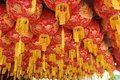 Lanterns in canopy at temple Georgetown Penang Malaysia Royalty Free Stock Photo