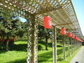 Lanterns chinese on a trellis Royalty Free Stock Photo