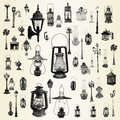 Lanterns collection illustration with street lamps Royalty Free Stock Images