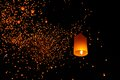 Lanterns floating on the sky in loi krathong traditional festival Royalty Free Stock Images