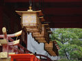 Lanterns fushimi inari taisha temple hanging from roof beams in in kyoto Stock Photos