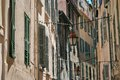 Lanterns hanging on a narrow street of the old toulon city Royalty Free Stock Photos