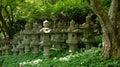 Lanterns of katsuoji temple in japan stone winners luck katsuo ji near osaka Stock Images