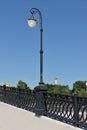 Lanterns on luzhkov bridge in moscow russua Stock Photography
