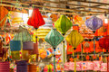 Lanterns in the mid autumn festival in vietnamese shop at district ho chi minh city saigon vietnam aumtumn Royalty Free Stock Photo