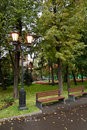 Lanterns of street lighting moscow russia overcast autumn day Royalty Free Stock Images