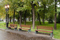 Lanterns of street lighting moscow russia overcast autumn day Stock Photography