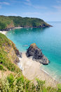 Lantic bay secluded beach cornwall england near fowey and polruan on a beautiful summer day Royalty Free Stock Image