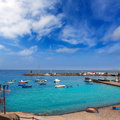 Lanzarote Playa Blanca beach in Atlantic Stock Photos