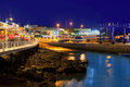 Lanzarote Puerto del Carmen harbour night view Stock Image