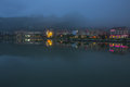 Lao cai twilight sapa city in front of lake sapa vietnam Royalty Free Stock Images