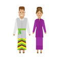 Lao national dress illustration of costume on white background Royalty Free Stock Image
