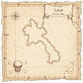 Lao People`s Democratic Republic old pirate map.