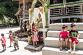 Laos new year savannakhet april buddhist children come to shower buddha image in the temple to celebrate songkran festival in Stock Image