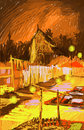 Laos, Vientiane at night colorful illustration Stock Image