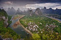 Laozhai hill china stunning landscape of xingping town and li river yangshuo county Royalty Free Stock Photos