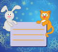 Lapin et chat Image stock