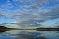 Lapland lake clouds over a in arctic sweden Stock Photo