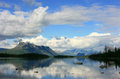 Lapland view to sarek national park in swedish over a lake Stock Image