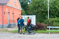 Lappeenranta. Finland. People look at the map Royalty Free Stock Photo