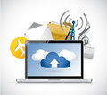 Laptop app cloud computing illustration design over white Royalty Free Stock Photos