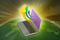 Laptop with arrow in color background Royalty Free Stock Photo