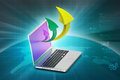 Laptop with arrow in color background Royalty Free Stock Image
