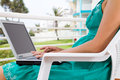 Laptop on balcony Royalty Free Stock Photo