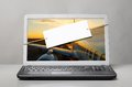 Laptop with blank note Royalty Free Stock Photo