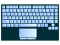 Laptop blue keyboard against white Stock Images