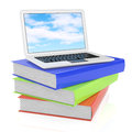 Laptop and books on white d rendered image Royalty Free Stock Photos