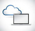 Laptop and border storage cloud illustration design over white Stock Photo
