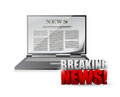 Laptop breaking news illustration design over a white background Royalty Free Stock Photos
