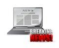 Laptop breaking news illustration design Royalty Free Stock Photo