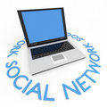 Laptop. Business or social network concept. Stock Photos