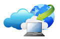 Laptop cloud computing moving concept Royalty Free Stock Image