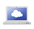 Laptop and cloud computing sign Royalty Free Stock Images