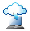 Laptop with cloud computing symbol on a screen Stock Images