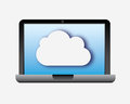 Laptop cloud over white background vector illustration Royalty Free Stock Photo
