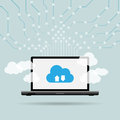 Laptop cloud uplink vector illustration of computing concept with and uplinks Royalty Free Stock Photography