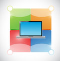 Laptop and color blocks ready for customization illustration design over white Royalty Free Stock Photography
