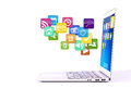 Laptop with colorful application icons. Stock Photography