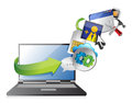 Laptop and colorful application icons Royalty Free Stock Photo