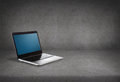 Laptop computer with blank black screen Royalty Free Stock Photo