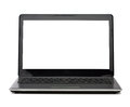 Laptop computer with blank white screen technology and advertisement concept Royalty Free Stock Image