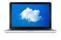 Laptop computer with cloud Stock Photo